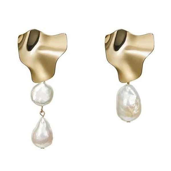 cercei aurii cu perle