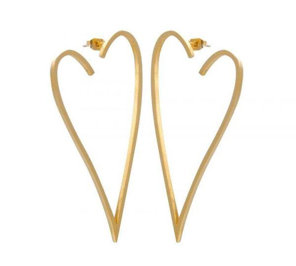 cercei inima aurii design minimalist