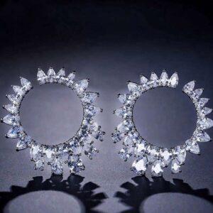 cercei rotunzi cu cristale cubic zirconia