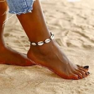 bratara picior scoici naturale cu snur