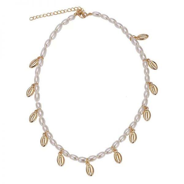 colier cu scoici, cochilii aurii si perle