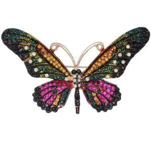 brosa fluture cu cristale colorate