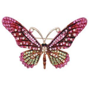 brosa fluture roz cu cristale