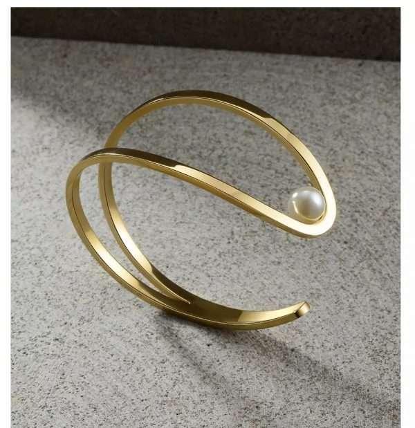 bratara fixa perla placata cu aur 18 K