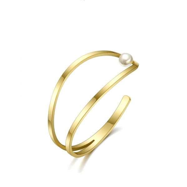 bratara fixa perla deschisa placata cu aur