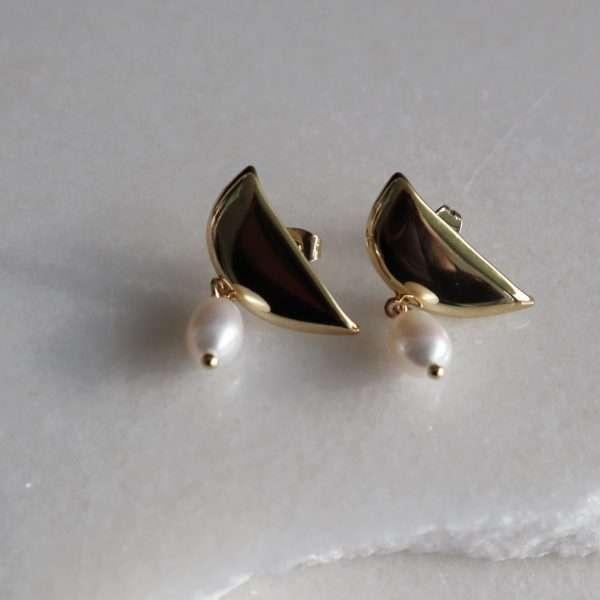 cercei cu perla naturala placati cu aur