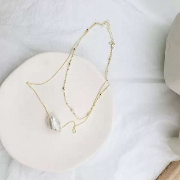colier auriu cu perla de cultura