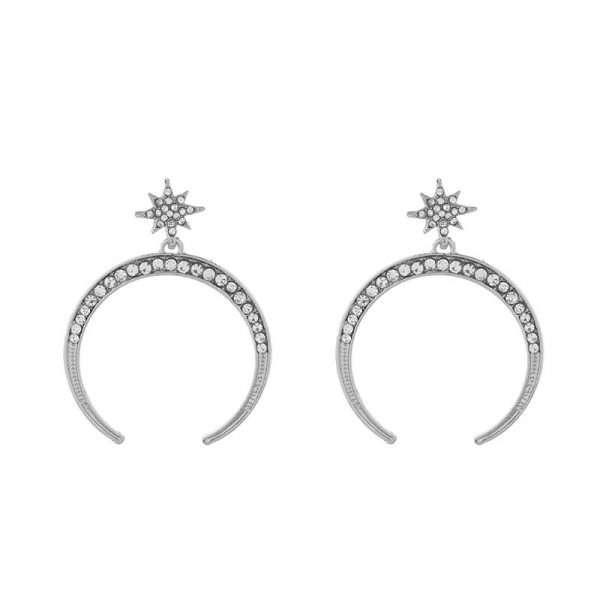 cercei eleganti argintii luna si stea