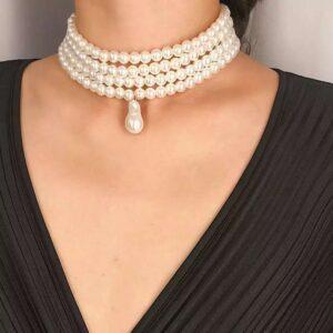 choker perle cu 4 straturi