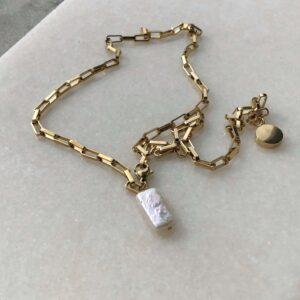 colier placat cu aur tip zale si perla baroc
