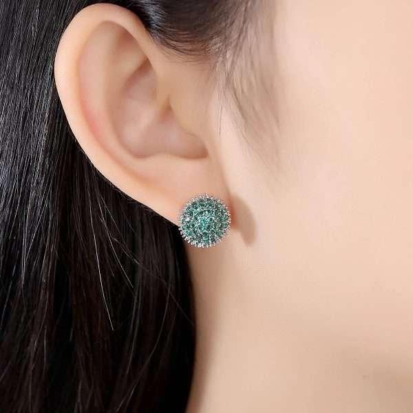 cercei mici cu cristale cubic zirconia de culoare verde