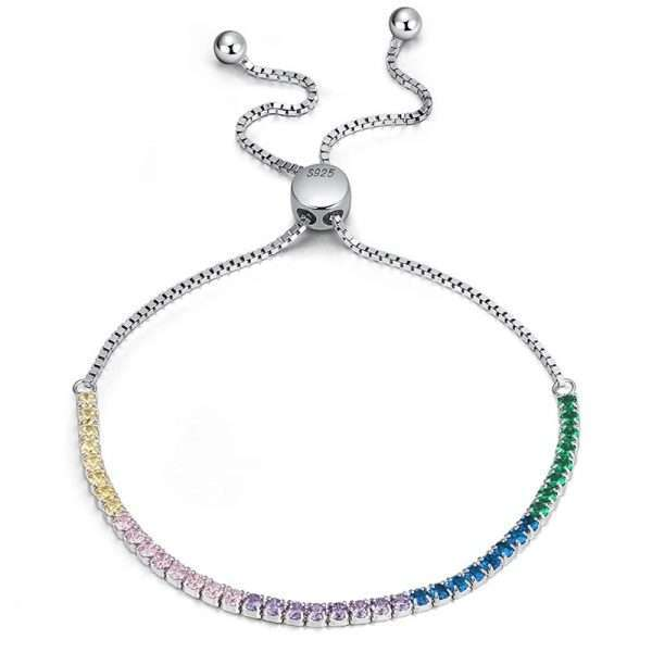 bratara tennis argint cu cristale colorate cubic zirconia