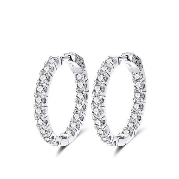 cercei rotunzi argint tennis cu cristale