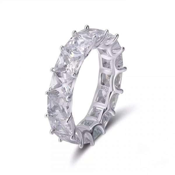inel tennis argint lat cu cristale