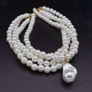 choker perle sintetice in patru straturi