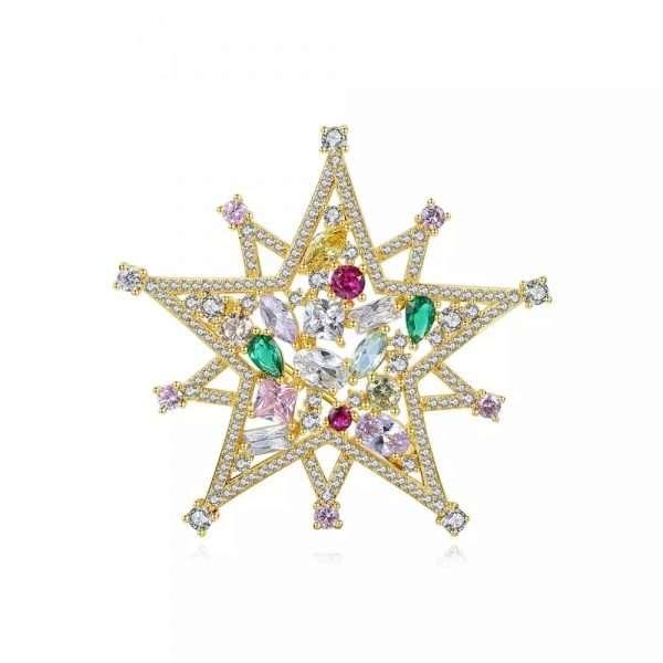 brosa stea cu cristale colorate cubic zirconia
