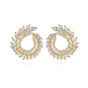 cercei eleganti aurii cu cristale