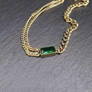 colier cu piatra verde cubic zirconia