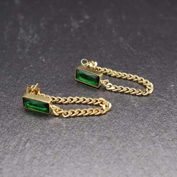 cercei aurii cu piatra verde MOSSELLE