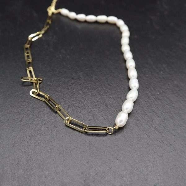 colier cu perle naturale si zale