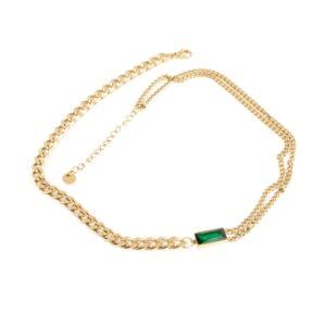 colier auriu cu piatra verde green emerald