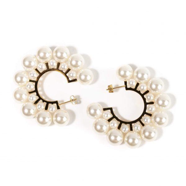 cercei cu perle sintetice