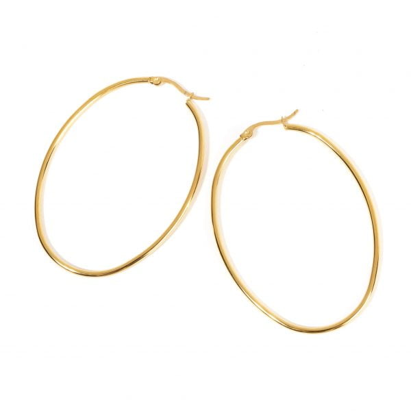 cercei ovali placati cu aur 18K