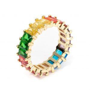 inel tennis colorat cristale zirconia