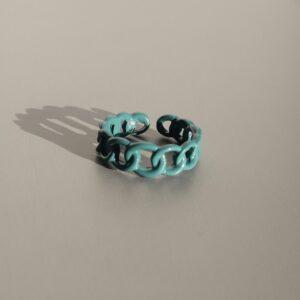 inel chain verde albastrui plastic